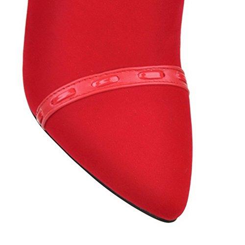 VogueZone009 Donna Scarpe A Punta Pelle Di Mucca Tacco Alto Puro Stivali con Metallo Rosso