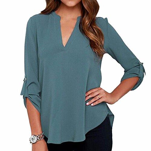 Frauen Mit V-Ausschnitt Bluse T-Shirt Ol Spitzen Beilaeufige Lange Huelse Chiffon S-5Xl Pfauenblau