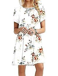 YMING Damen Casual Langes Shirt Lose Tunika Kurzarm T-Shirt Kleid 24 Farbe,XXS-XXXXXL(32-50)