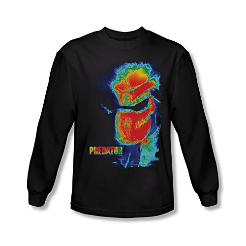 Predator Sci-Fi Horror Movie Thermal Vision Head Poster Adult L-Sleeve T-Shirt