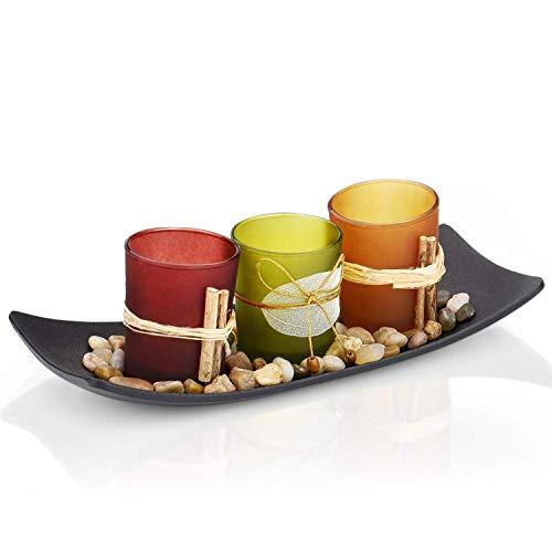 Nice Dream Teelichthalter, Teelichthalter mit 3 Teelichter, Dekoschale mit Kerzen, 26cm x 10cm x 8cm