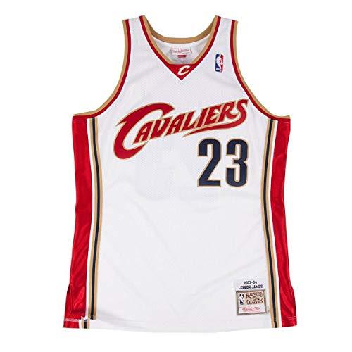 Mitchell & Ness Cleveland Cavaliers 23 Lebron James Swingman Retro Trikot Jersey (XL, White)