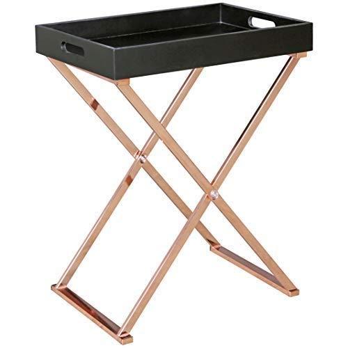 WOHNLING Beistelltisch TV-Tray zusammenklappbar 48 x 61 x 34 cm schwarz/Kupfer MDF | Design:ohnzimmertisch mit Tablett Kaffeetisch modern | Tabletttisch Holz (Tv-ständer Zusammenklappbar)