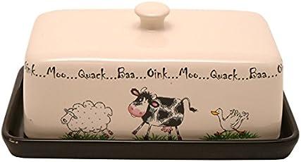 Price & Kensington Butterdose, Bauernhof-Stil, Keramik, mehrfarbig