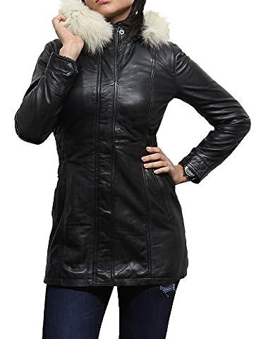 Brandslock Femmes Noir Manteau en peau de mouton en cuir avec manteau de fourrure détachable (4xl/20, NOIR)