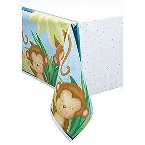 """Decoración para fiesta de nacimiento de niño con tema de mono Mantel de plástico 84"""" x 54"""" multicolor"""