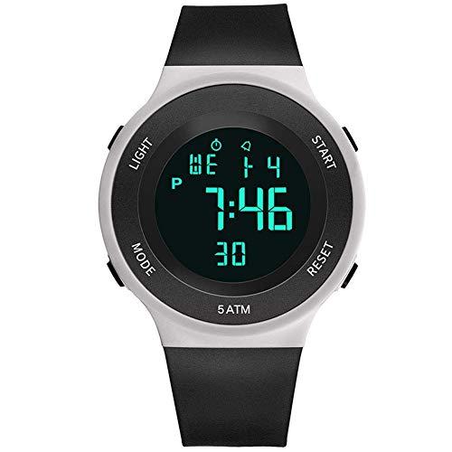 gshhd0 Digitaluhr, Wasserfest Digital Teenager Studenten Silikon Sports Uhr Leuchtend LED Armbanduhr Elektronische Sportuhr für Jungen Teenager Junior Mädchen - Schwarz und Weiß