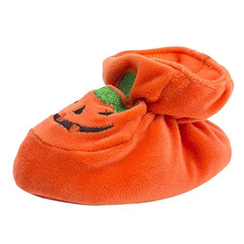 INLLADDY Babyschuhe Baby MäDchen Jungen KüRbis Slip-On Baumwolle Mischung Wildleder Weichen Boden Kleinkind Schuhe Babyschuhe 0-12Monate Orange 3-6Monate