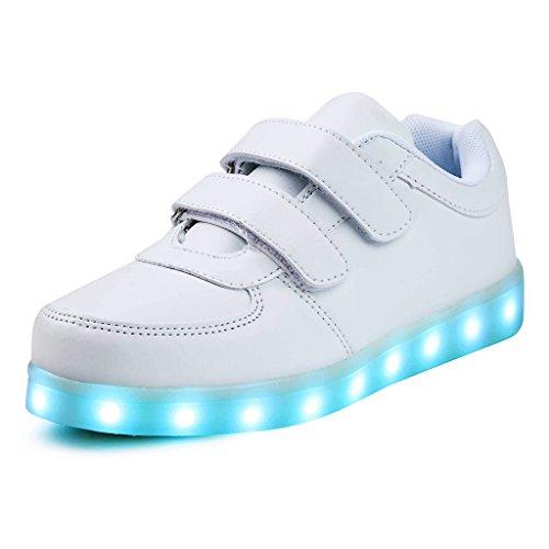 SAGUARO® Jungen Mädchen Turnschuhe USB Lade Flashing Schuhe Kinder LED leuchtende Schuhe mit farbigen Schnürsenkel, Weiß 27