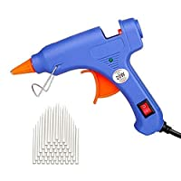 Upgraded Mini Hot Melt Glue Gun with 50pcs Glue Sticks,Removable Anti-hot Cover Glue Gun Kit with Flexible Trigger for DIY Small Craft Projects & Sealing and Quick Daily Repairs 20-watt,Blue
