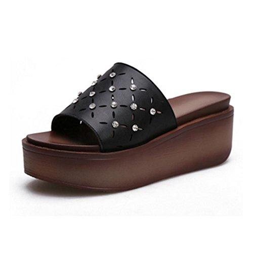 pengweiDamen-Sommerspitze mit coolen Pantoffeln Black