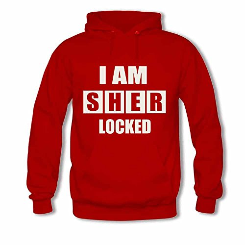 Women's Hoodie Sherlock I am Sher locked Letters Print Sweatshirt L