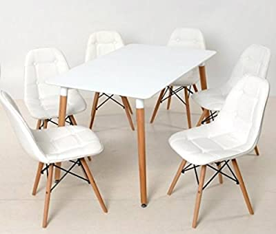 Amazing Set#retro Designer Rectangle Wood White Dining Table And 4 Retro White Pu Eames Inspired Eiffel Dsw Chairs#free Delivery