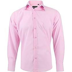 Enzo Camisa Hombre Clásico Rosa Regular Fit con Mangas Largas Talla L