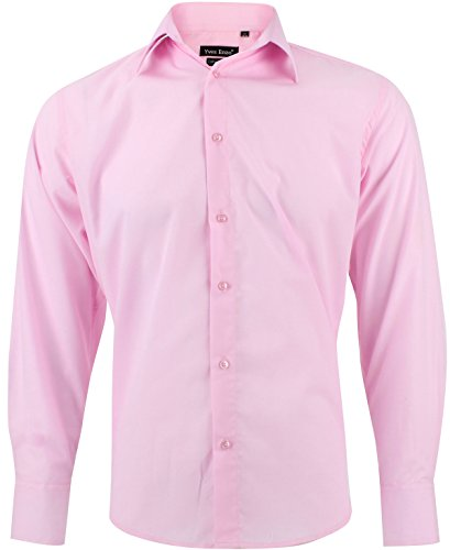 Camisa Hombre clásico Rosa Regular fit con Mangas largas Talla M
