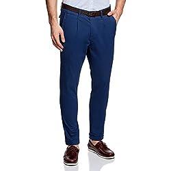 oodji Ultra Hombre Pantalones Chinos con Cinturón, Azul, ES 48 (XL)