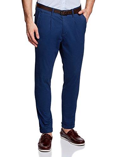 Oodji ultra uomo pantaloni chino con cintura, blu, it 50 / eu 46 (l)