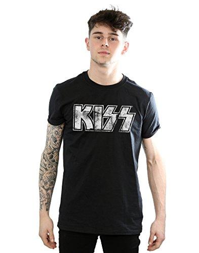 Kiss Herren Distressed Logo T-Shirt XX-Large Schwarz (Herren-tee Distressed Logo)