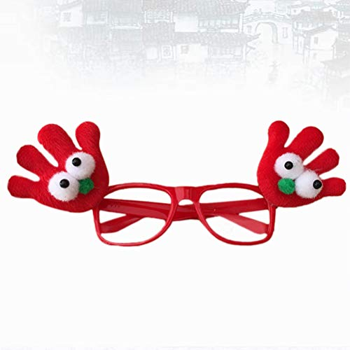 Amosfun Weihnachten Gläser Rahmen Rentier Gläser Rahmen Xmas Party Dekoration Requisiten (rot)