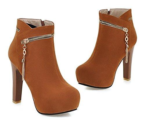 YE Damen High Heels Plateau Stiefeletten Wildleder mit 12cm Absatz Reißverschluss Blockabsatz Heels Ankle Boots Schuhe Gelb