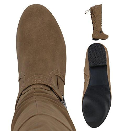 Klassische Stiefel Damen Nieten Schnallen Lederoptik Khaki