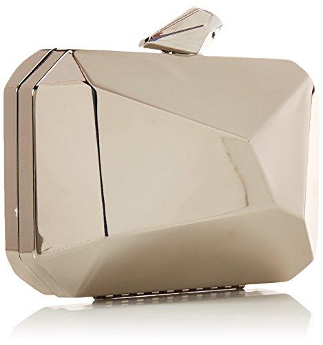 BMC da donna in lega di astratta per pietra rigida Fashion frizione catena borsa Grigio (Argento brillante)