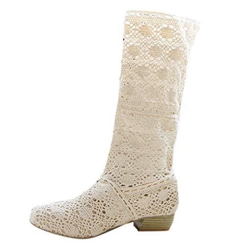 LuckyGirls Botas Mujer Moteras de Caña Alta Zapatillas Crochet Heuco de Floral Zapatos Informales (Beige,EU37)