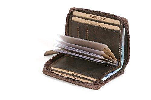 Características:   - 18 ranuras para tarjetas de crédito (6   dentro de la cartera y 12 en la cubierta de plástico duro)  - 1 bolsillo para billetes  - Envolvente cremallera  - Completo equipamiento de cuero completo  - Cosido todas las ranuras d...