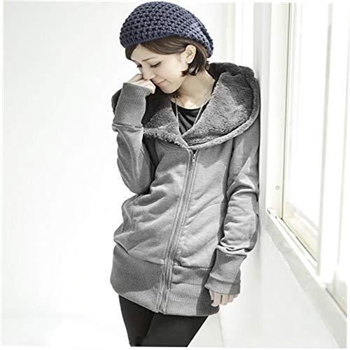 Damen Damen Plain Hoodie mit Kapuze und Reißverschluss Reißverschluss-Sweatshirt Freizeitjacke Mäntel
