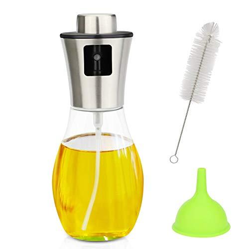 Cikuso Oliven?l Spray 6.8 Unze, ?l Sprayer Zum Kochen Für Salat/Barbecue/Grill/Küchenbacken, Ergonomisches Design ?lpumpenspray Herr Mit Glasflasche Silber