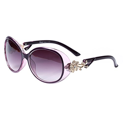 LianSan Oval Fashion Damen Gold Blume Marke Designed Lady Sonnenbrille GD103 (lila)