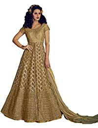 Like A Diva Beige Net Anarkali With Lehenga Skirt & Pants With Golden Zari Embroidery for Women