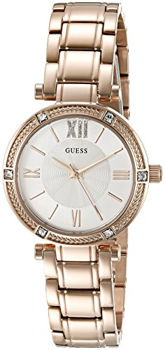 GUESS Women's U0767L3 Dressy Rose Gold-Tone Watch with White Dial , Crystal-Accented Bezel and Stainless Steel Pilot Buckle image