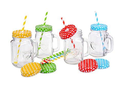 GRÄWE Trinkglas mit Deckel, Henkel, Strohhalm, Schraubverschluss, 4 Stück
