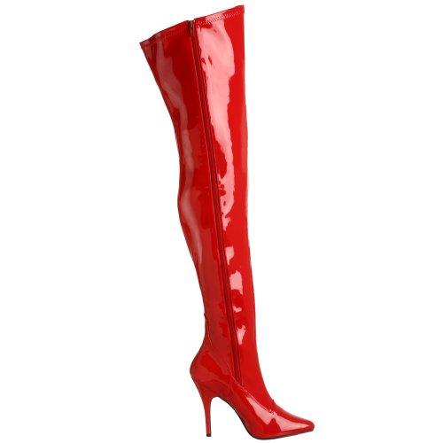 Pleaser SEDUCE-3000 Damen Stiefel Rouge (Red Str Pat)