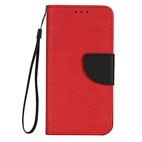 Acer Liquid Zest Z525 Case Leather, Ecoway color match PU Leather Stand Function Protective Cases Covers with Card Slot Holder Wallet Book Design for Acer Liquid Zest Z525 - Big red /