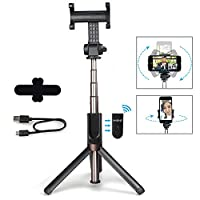 MAONO Selfie Stick, Integrated Foldable Tripod with Rechargeable Bluetooth Remote Shutter and Vertical 360° Rotation Phone Holder for iPhone, Android Smartphones, Podcast, Live Broadcasting, Facetime