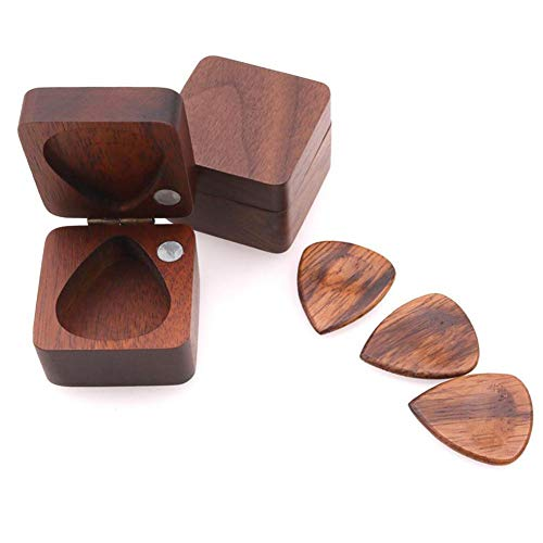 longrep Wooden Guitar Picks Plectrum Thin Gauge Guitar Pick Walnut Solid Wooden With Storage Box For Guitar Bass Ukelele Pendants Birthday Gifts
