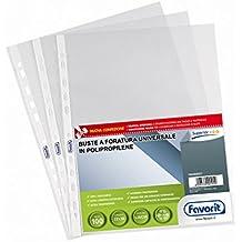 Favorit 100460057 Busta a Foratura Universale Formato Interno 22x30 Finitura liscia Confezione da 100 pz.