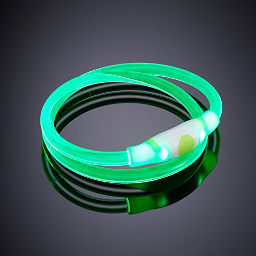 Auraglow-Super-Bright-LED-Light-Up-Dog-Collar-High-Visibility-Flashing-Safety-Pet-Leash-GREEN