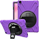 SYNTAKS Galaxy Tab A 10.1 2019 Case(Model: SM-T510 SM-T515),[360 Degree Swivel Stand/Hand Strap] Slim Heavy Duty Shockproof Rugged Full Body Protective Case (purple)