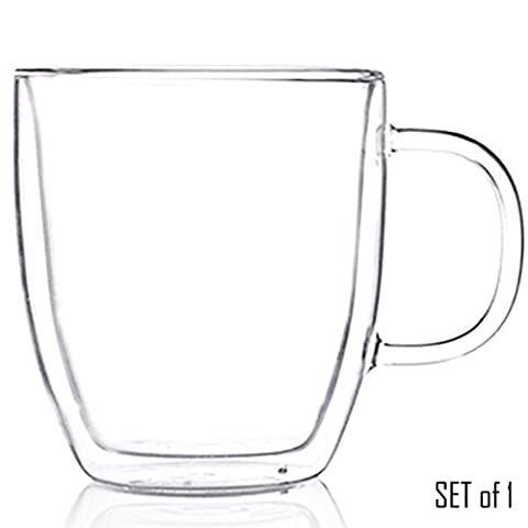 Tealyra - Sirius - 500ml - Large Clear Double Wall Glass Mug With Handle - Keeps Beverages Hot Yet Stays Cool To The Touch - Perfect Cup for Tea & Coffee - In Carton Gift Box - Set of 1