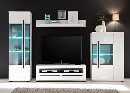 Wohnwand Anbauwand mit LED-Beleuchtung 440941 weiß 290cm 4-teilig - 2
