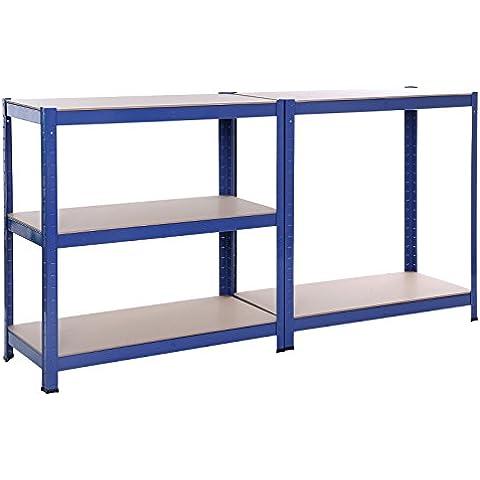Songmics Estantería resistente acero con recubrimiento en polvo en color azul y tablero DM sin tornillos 5 niveles 150 x 75 x 35 cm 650 kg