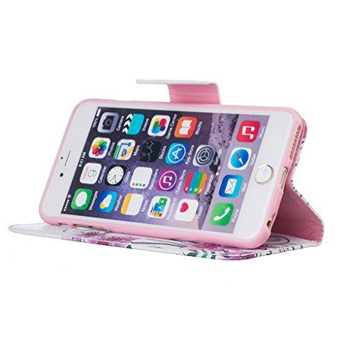 Trumpshop Smartphone Case Coque Housse Etui de Protection pour Apple iPhone 6 / iPhone 6s (4.7-Pouce) + Don't Touch My Phone (Ourson) + Mode Portefeuille PU Cuir Avec Fonction Support Papillons rouges