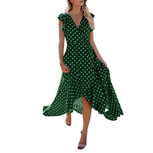 er Damen Maxi Kleid Off Shoulder Abendkleid Strandkleid Party Schulter Kleider Schulterfrei Strand Spielanzug Boho (Grün,S) ()
