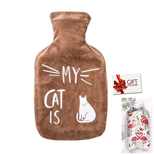 Bolsa de Agua Caliente con Funda 1L Hot Water Bag Bottle Goma Natural Peluche Super Suave Diseño Calor y Confort para Bebés Niños Novia (z-Café Gato)