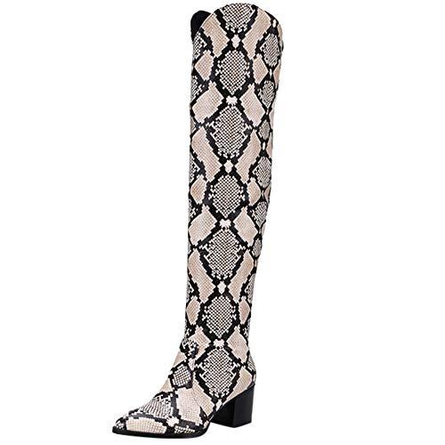 MYMYG Hohe Stiefel Frauen Stiefeletten Langschaft Snake Pattern High Heel Schuhe Retro Ritter Stiefel Overknee Boot Freizeitschuhe Modische Strümpfe Boots