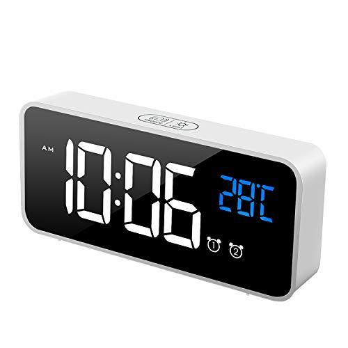 MOSUO Reloj Despertador Digital, LED Despertadores Electrónicos Espejo con Temperatura y 2 Alarma...