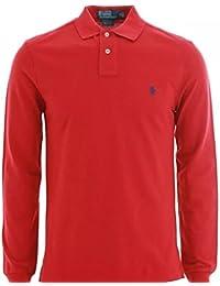 Ralph Lauren Polo à manches longues pour femme hommes Custom Fit solide en maille Rouge Blanc Noir Bleu marine gris, Coton, Rouge, Taille L
